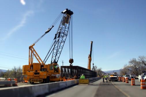 Crews setting pedestrian bridge