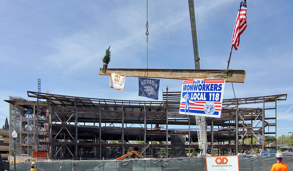UNR's E.L. Wiegand Fitness Center CMAR Tops Out